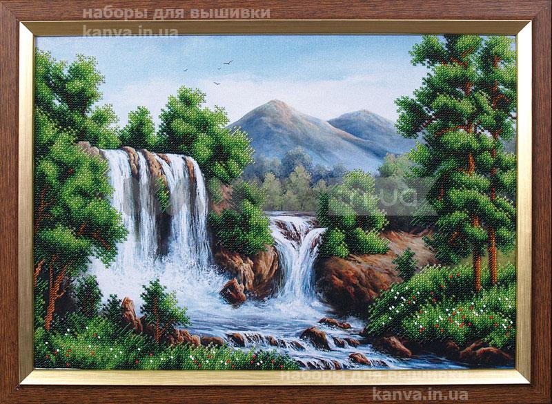 Водопад в горах, набор бисером