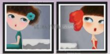 Девушки, 3D полиптих из 2-х частей, набор для вышивки крестиком