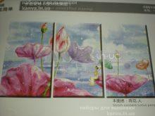 Лотус и фея, полиптих из 3-х частей, 3Д вышивка