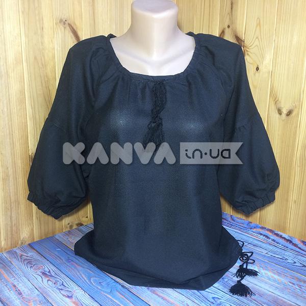 Сорочка женская черная под вышивку крестом с коротким рукавом