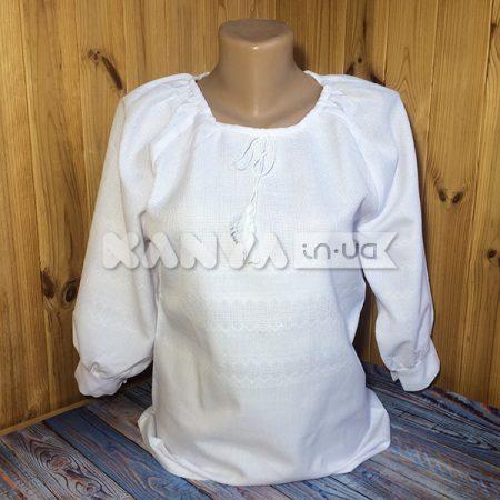 Сорочка женская под вышивку с рукавом 3/4 и манжетом, белая