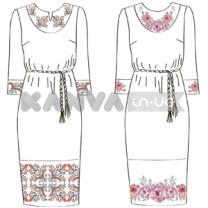 Платье белое с поясом под вышивку крестом, бисером, лентами