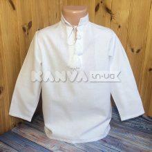 Для мальчика рубашка под вышивку крестом с длинным рукавом, белая, рр24-42