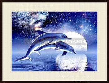 Дельфины 54Х45см, картина стразами