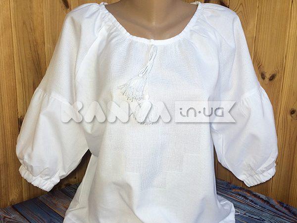 Сорочка женская белая под вышивку крестом с коротким рукавом