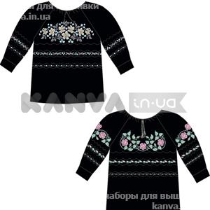 Сорочка-заготовка женская под вышивку БИСЕРОМ, крестом с рукавом 3/4 на пуговках, черная
