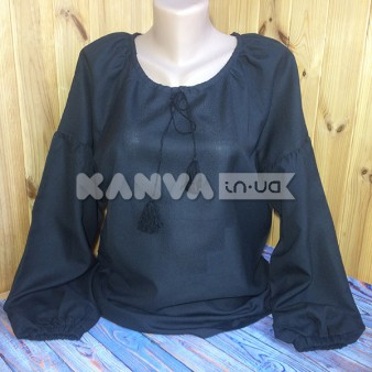 Сорочка женская черная под вышивку с длинным рукавом