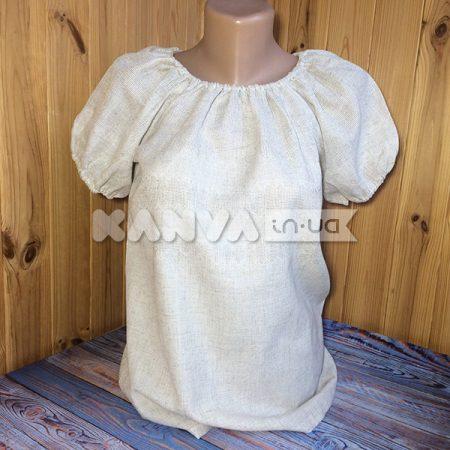 Сорочка-лен женская под вышивку, рукав-фонарик