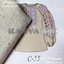 Сорочка-лен женская под вышивку крестом с длинным рукавом