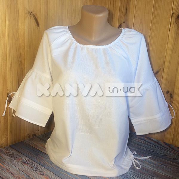 Сорочка под вышивку женская с коротким рукавом на веревочке
