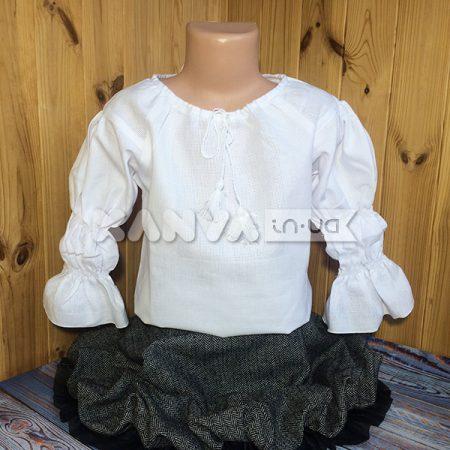 Сорочка под вышивку для девочки с длинным рукавом на резиночках