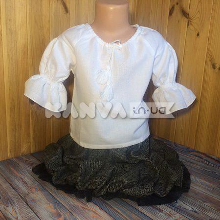 Сорочка под вышивку для девочки с коротким рукавом на резиночке