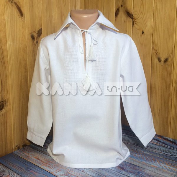 Сорочка под вышивку для мальчика с длинным рукавом с манжетами