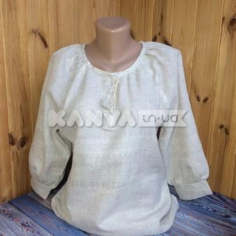 Сорочка женская под вышивку с рукавом 3/4 и манжетом, лен
