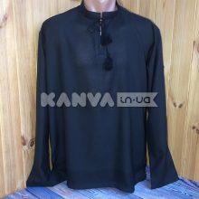 Черная рубашка под вышивку с длинным рукавом, мужская