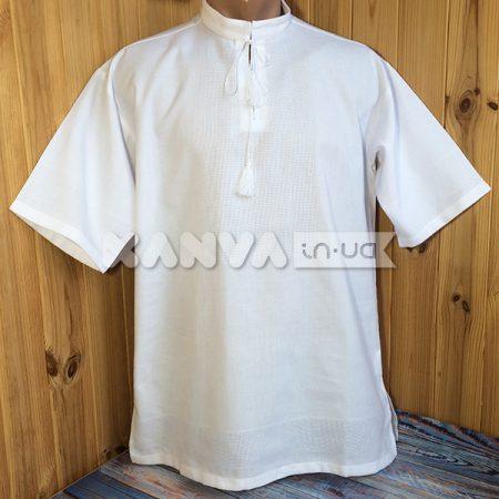 Белая рубашка под вышивку с коротким рукавом, мужская