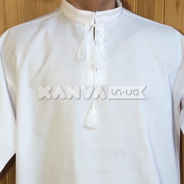 Белая рубашка под вышивку с коротким рукавом cddcb221ffd86