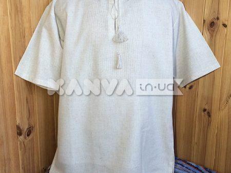 Лен рубашка под вышивку с коротким рукавом, мужская
