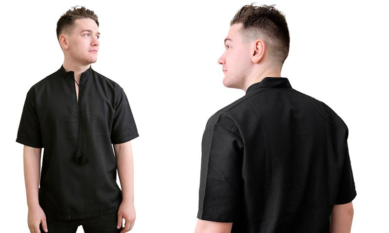 Черная рубашка под вышивку с коротким рукавом eaeeda843ab84