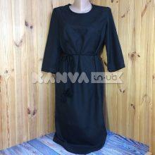 Платье с поясом под вышивку, черное