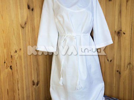 Платье с поясом под вышивку, белое