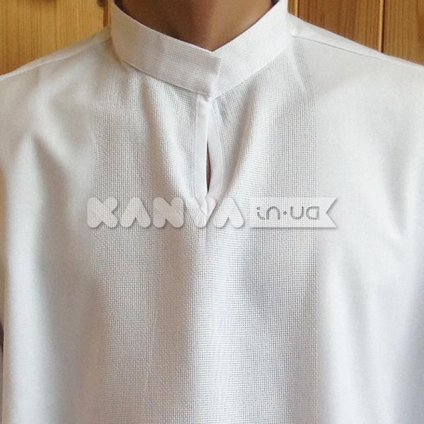 Біла сорочка під вишивку чоловіча з довгим рукавом Код 021