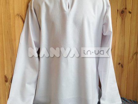 Сорочка без китыць под вышивку мужская с длинным рукавом, белая