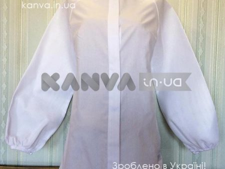 Сорочка женская под вышивку, воротник стоечка, с длинным рукавом белая