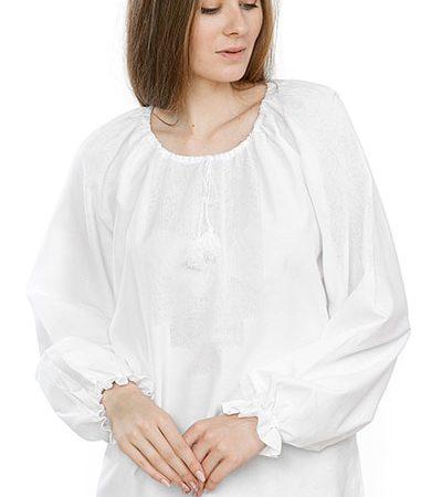 Сорочка жіноча під вишивку хрестом з довгим рукавом біла