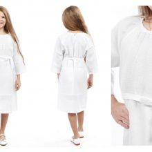 Сукня з поясом для дівчинки під вишивку, біла. Код 727-18/09