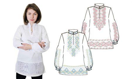 Сорочка жіноча біла під вишивку хрестом з довгими рукавами. Код 874-18/09