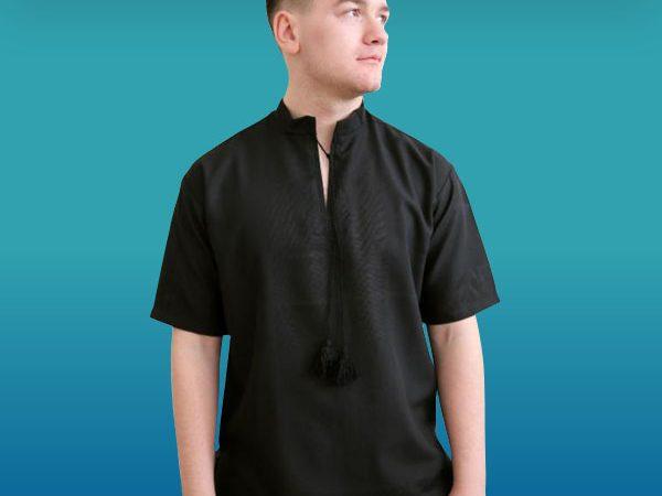 Чорна сорочка під вишивку з коротким рукавом, чоловіча 785_1410