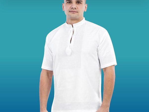 Біла сорочка під вишивку з коротким рукавом, чоловіча 785_1409