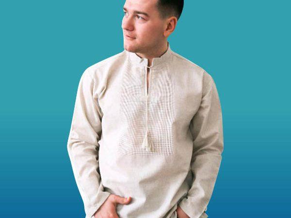 Льон сорочка під вишивку з довгим рукавом чоловіча ТПК_202 21_0308