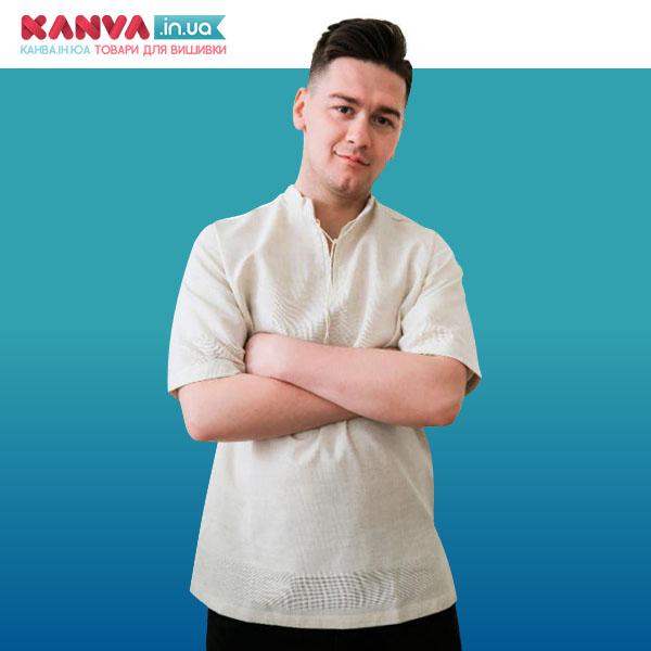 Льон сорочка під вишивку з коротким рукавом чоловіча 785_1408