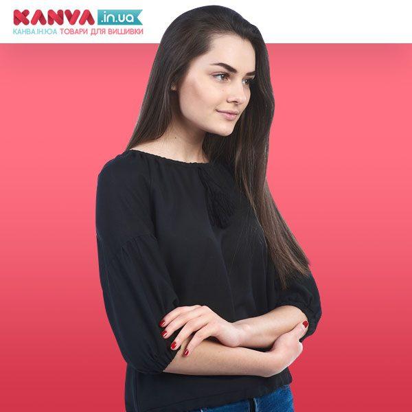Чорна сорочка жіноча під вишивку з коротким рукавом ТПК_17 203_0209