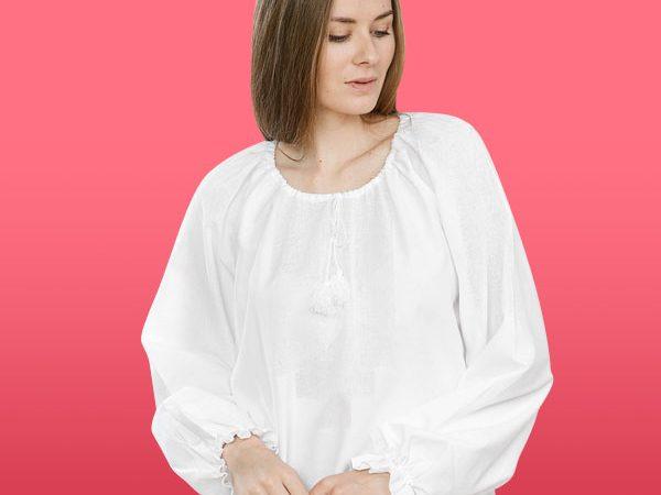 Сорочка жіноча під вишивку з довгим рукавом 60137