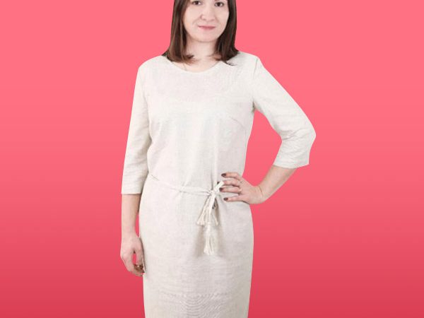 Льон сукня з поясом під вишивку 820_1408