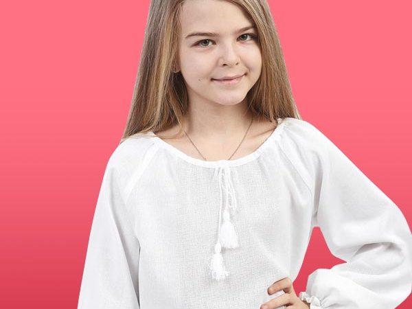 Сорочка зі вставками дівчача з довгим рукавом