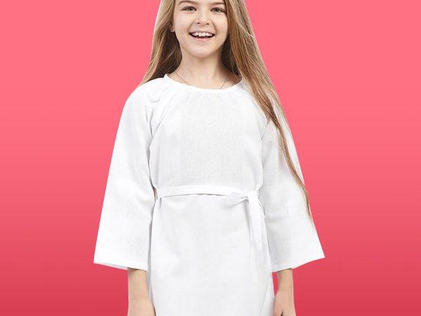 Біла довга сукня під вишивку для дівчинки, з поясом
