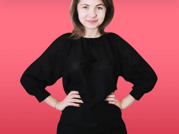 Чорна жіноча сорочка під вишивку з рукавом на манжеті